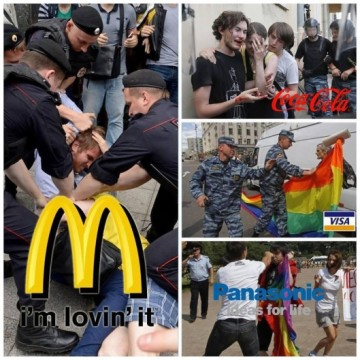 McDonalds, Visa, Panasonic og Coca Cola associeres med homohad